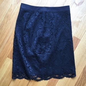 NWOT The Limited navy blue lace pencil skirt 0